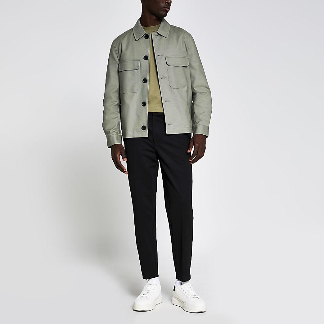 Light green chest pocket overshirt jacket