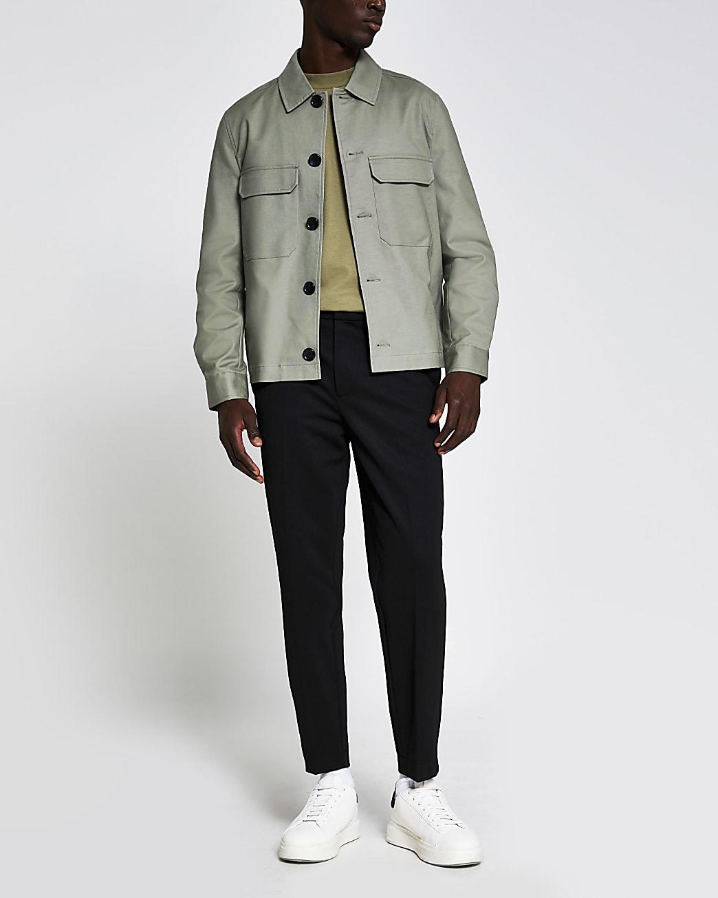 Light green chest pocket shacket