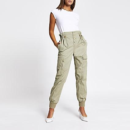 Light green drawstring waist cargo trousers