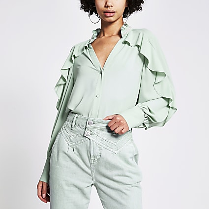 Light green embellished collar frill shirt