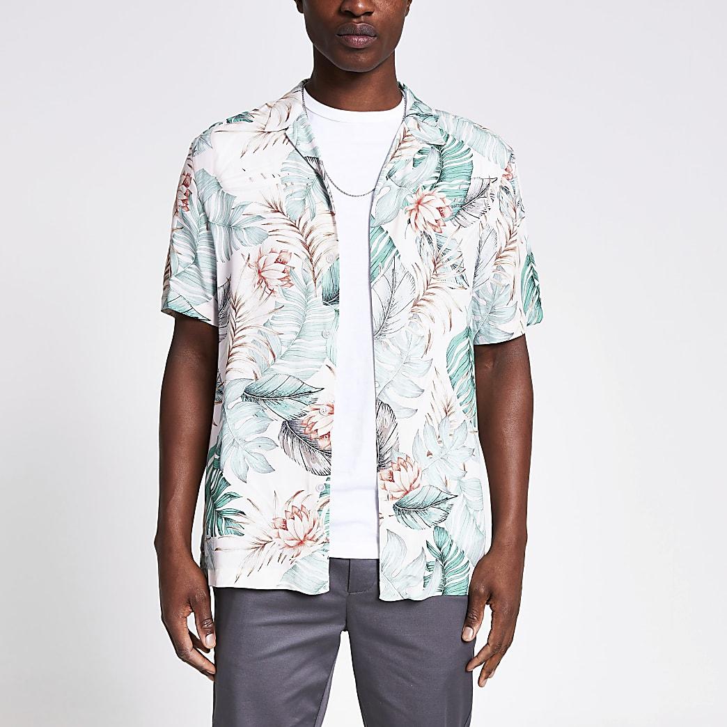 Lichtgroen regular-fit overhemd met bloemenprint