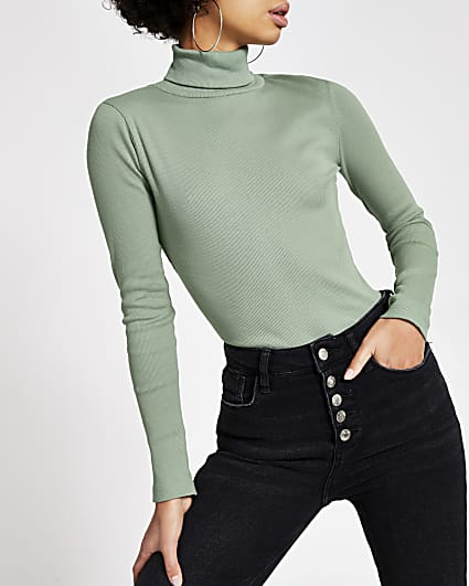 Light green long sleeve roll neck ribbed top