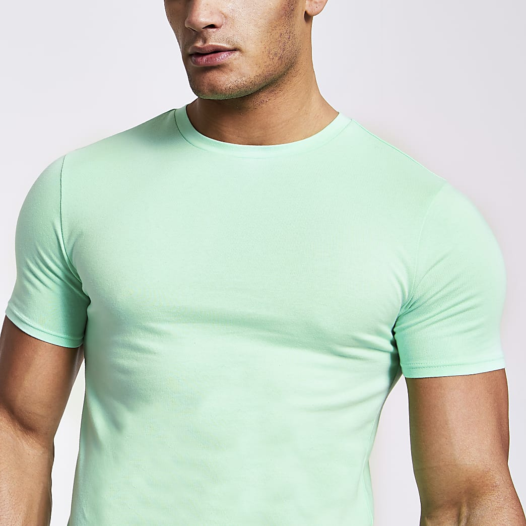 Light green muscle fit T-shirt