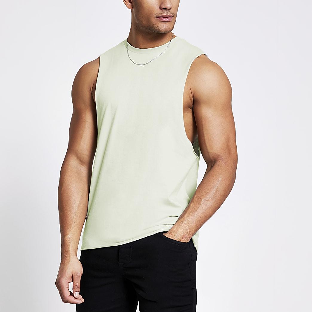 Light green muscle fit tank vest