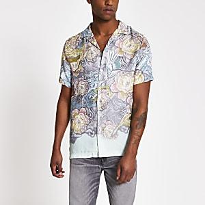 Chemise à fleurs oriental vert clair