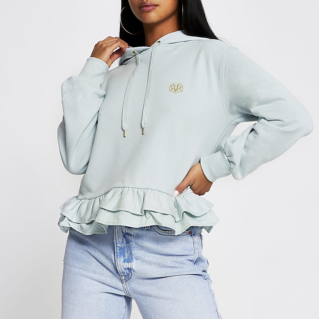 Light green Poplin Frill Hoody