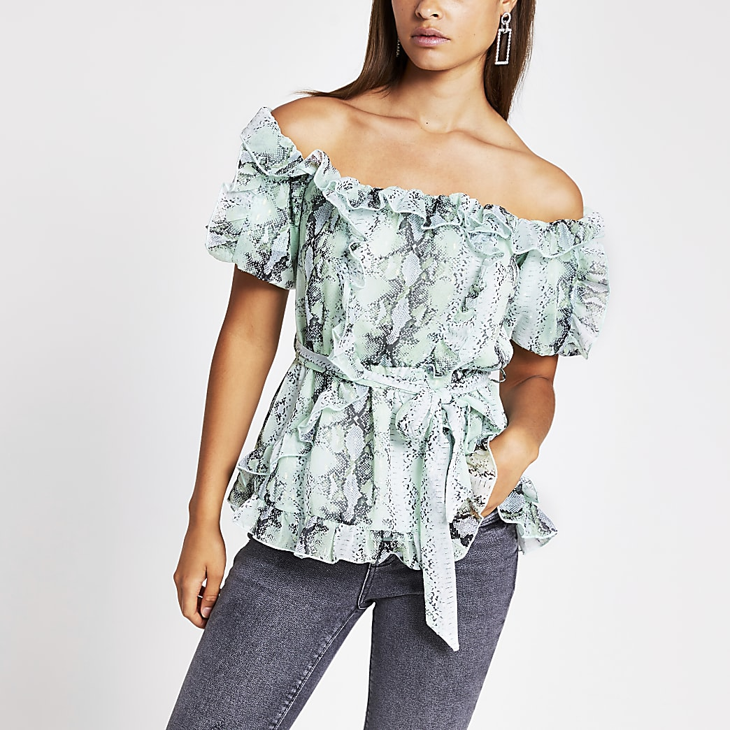 Light green printed frill bardot top