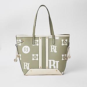 Hellgrüne Shopper-Tasche mit RI-Print