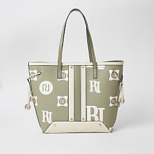 Lichtgroene shopper met RI print