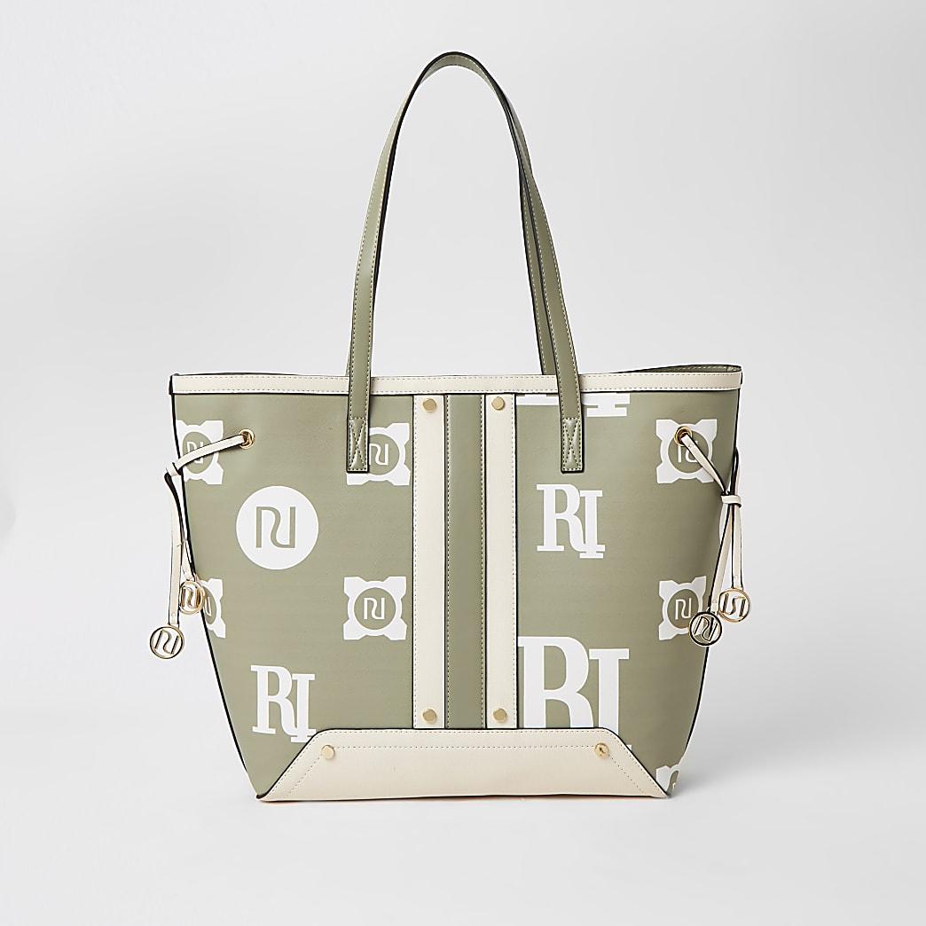 Light green RI printed shopper bag