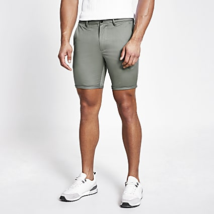 Light green skinny chino shorts