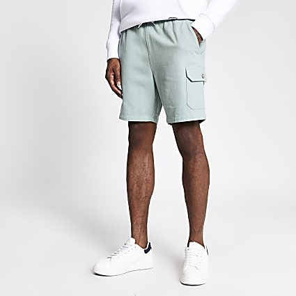 Light green slim fit shorts
