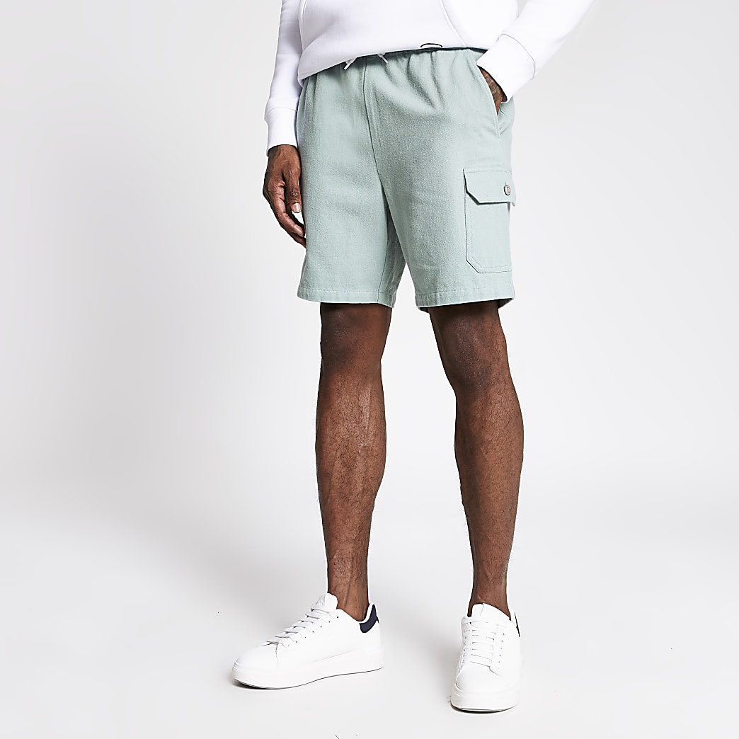 Light green slim fit shorts