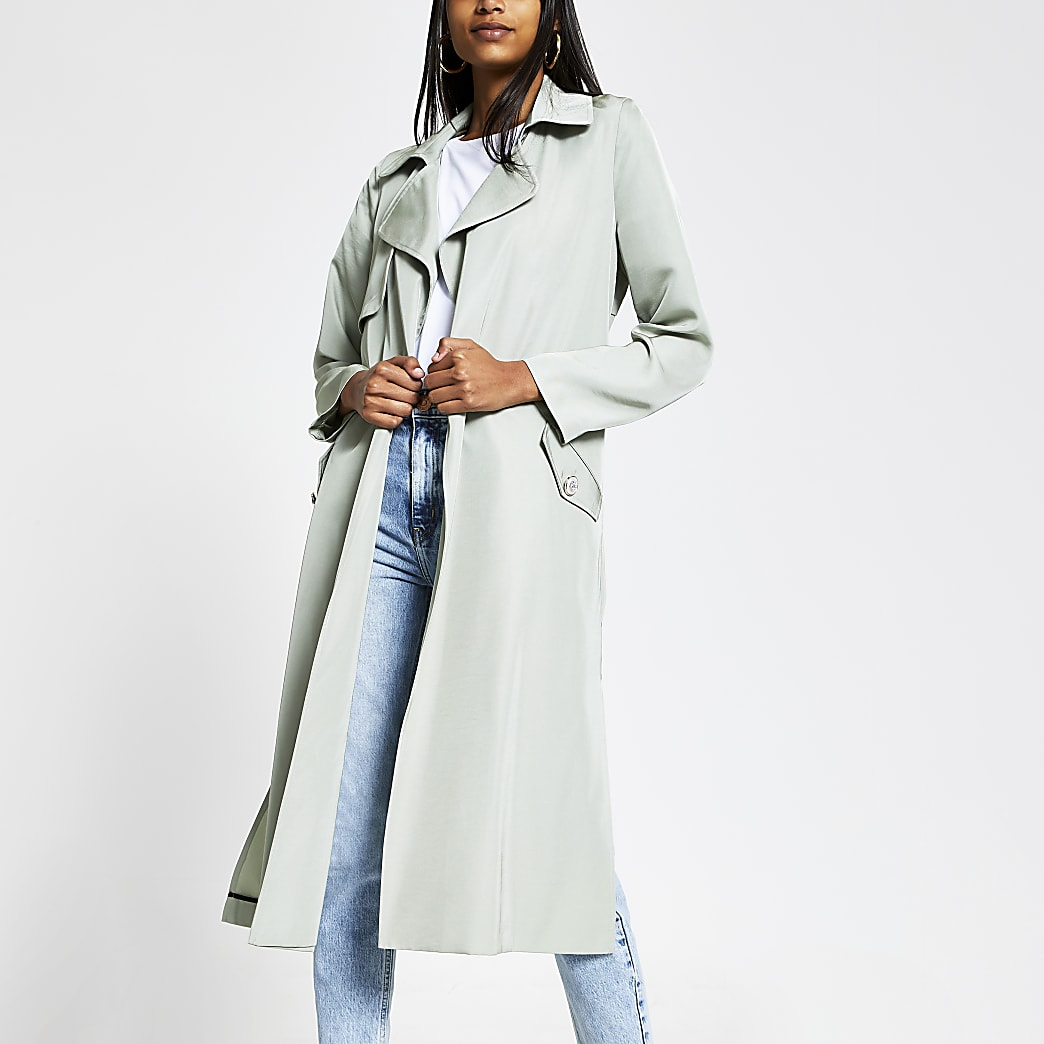 Light green tie belted duster jacket