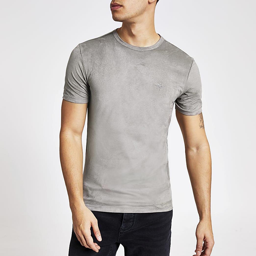 Lichtgrijs muscle-fit T-shirt van imitatiesuède