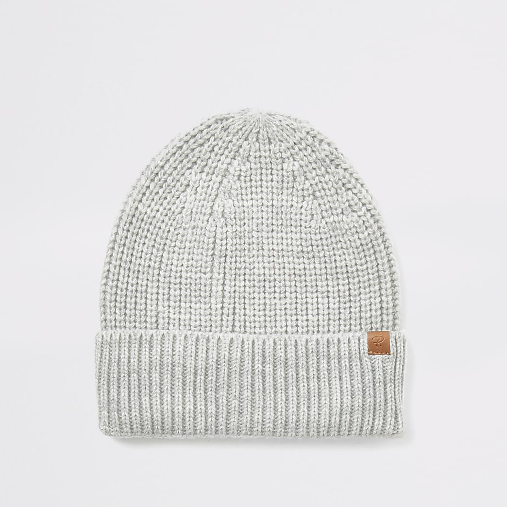 Light grey fisherman knit beanie hat