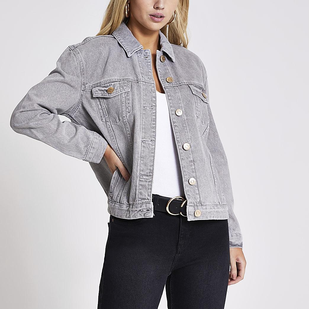 Light grey oversized denim jacket