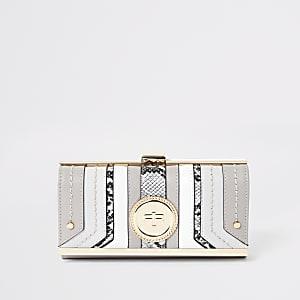 Lichtgrijze portemonnee met RI-hanger en druksluiting