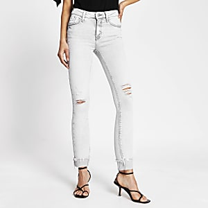 Amelie - Lichtgrijze ripped mid rise skinny jeans