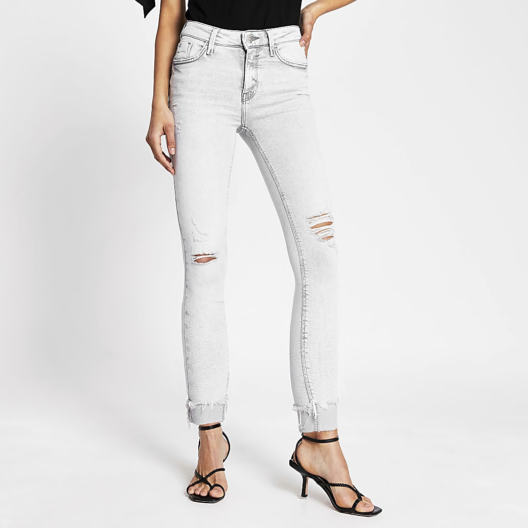 Light grey rip Amelie mid rise skinny jeans