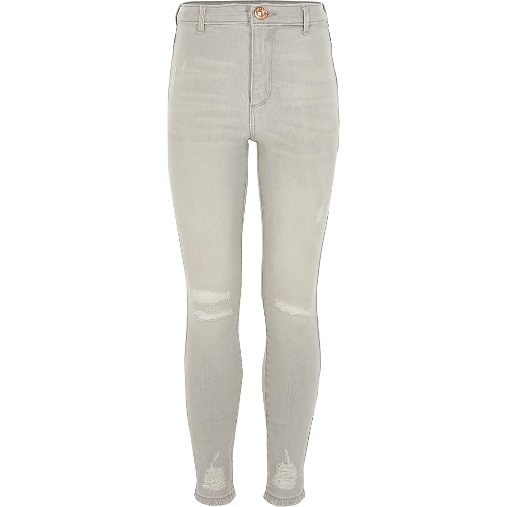 Lichtgrijze ripped Kaia jeggins met hoge taille