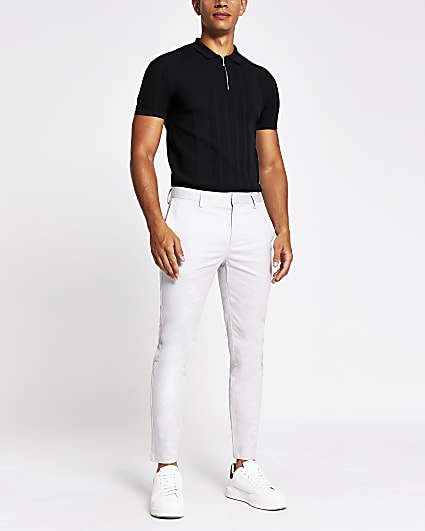Light grey skinny fit chino trousers