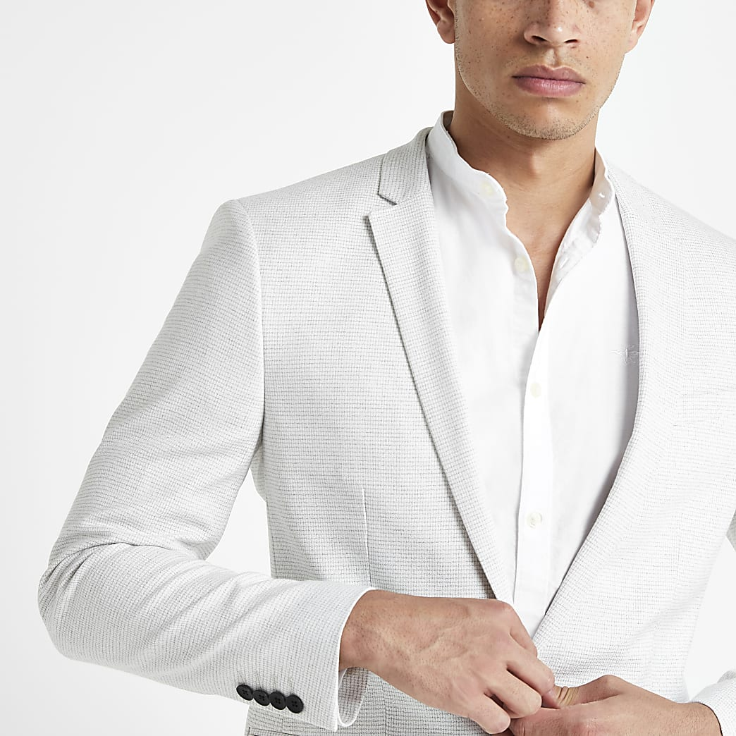 Light grey skinny fit textured blazer