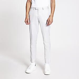 Lichtgrijze skinny nette linnen broek