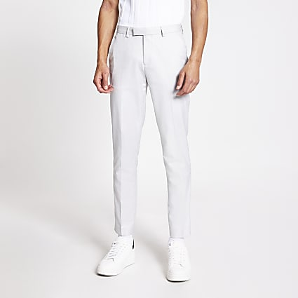 Light grey skinny linen smart trousers