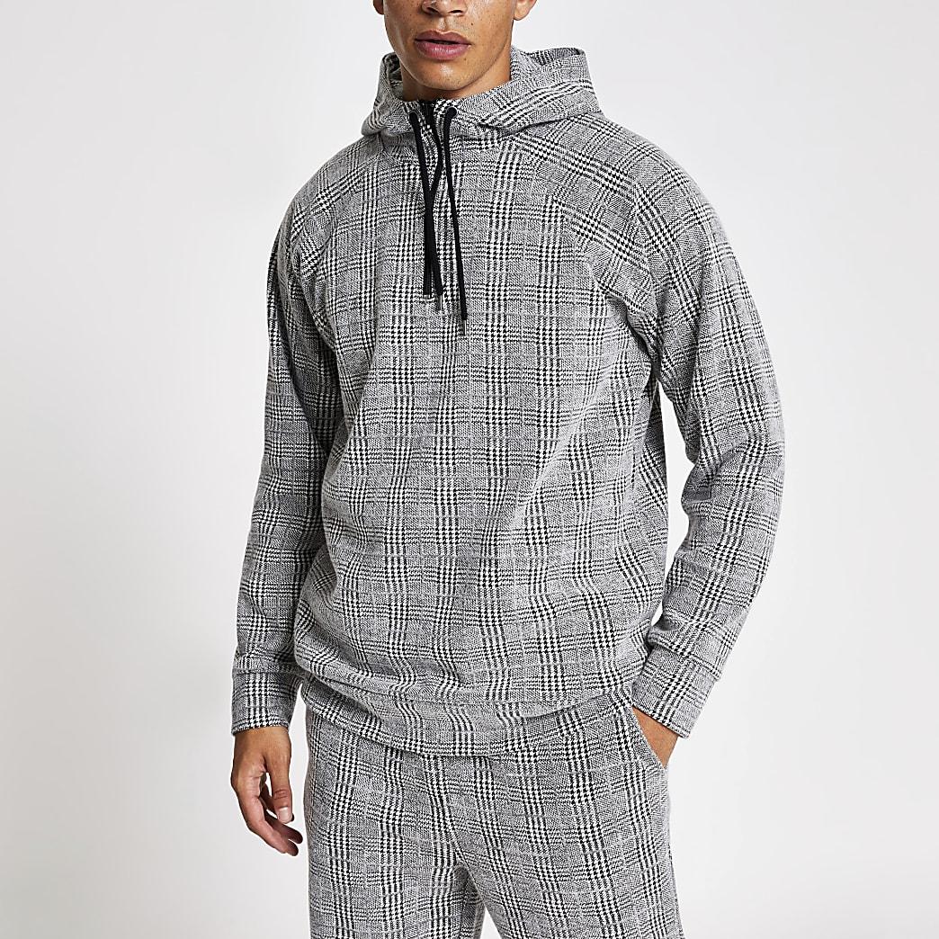 Light grey slim fit check hoodie