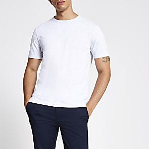 Hellgraues Slim Fit T-Shirt mit Rundhalsausschnitt