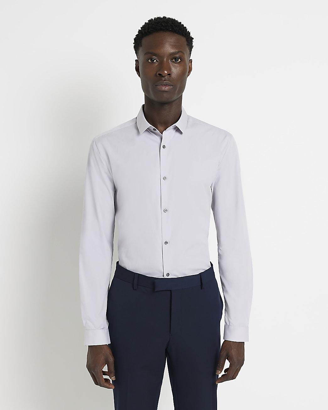 Light grey slim fit long sleeve shirt