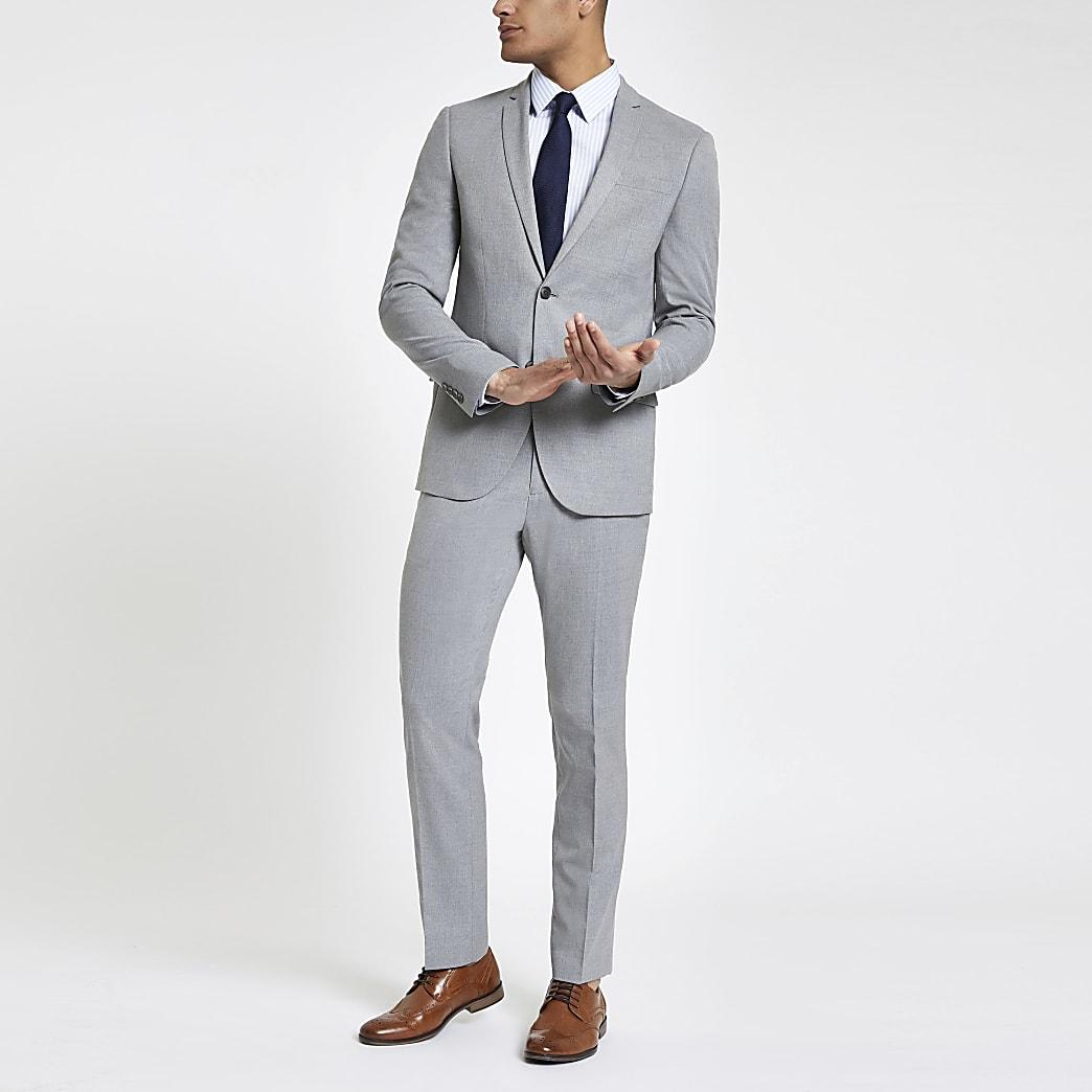 Veste de costume gris clair coupe cintrée