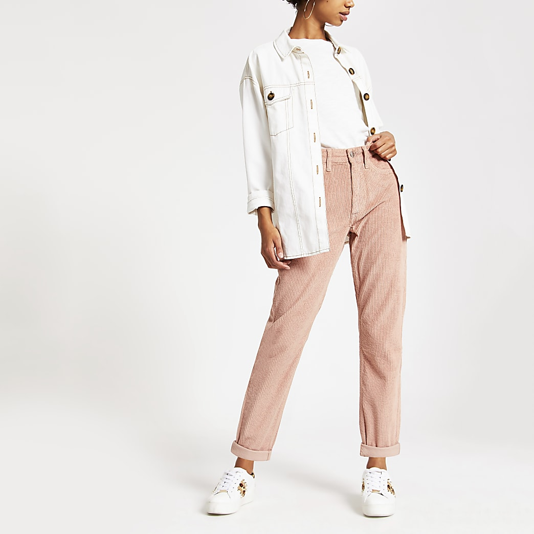 Light pink cord Mom jeans