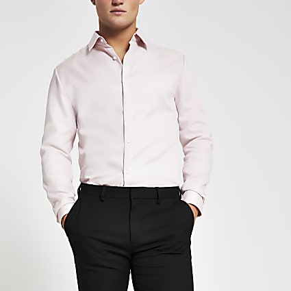 Light pink Egyptian cotton slim fit shirt