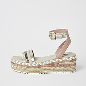 Light pink espadrille flatform sandals