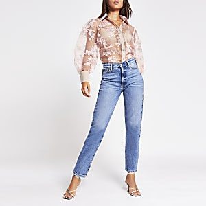 Light pink floral organza sheer shirt
