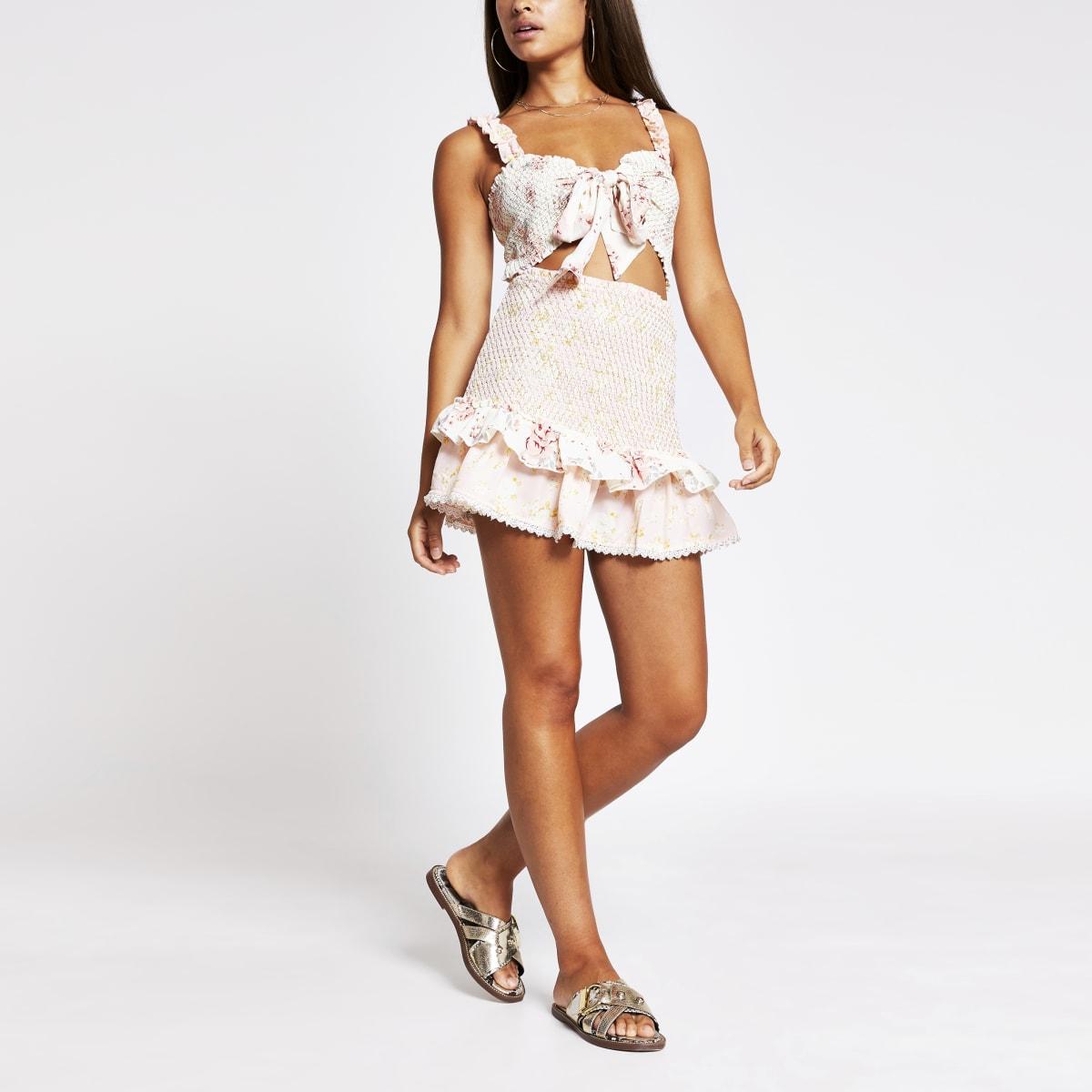 Light pink floral shirred beach skirt