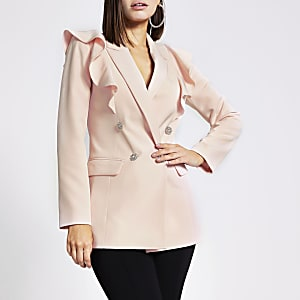Light pink frill front double breasted blazer
