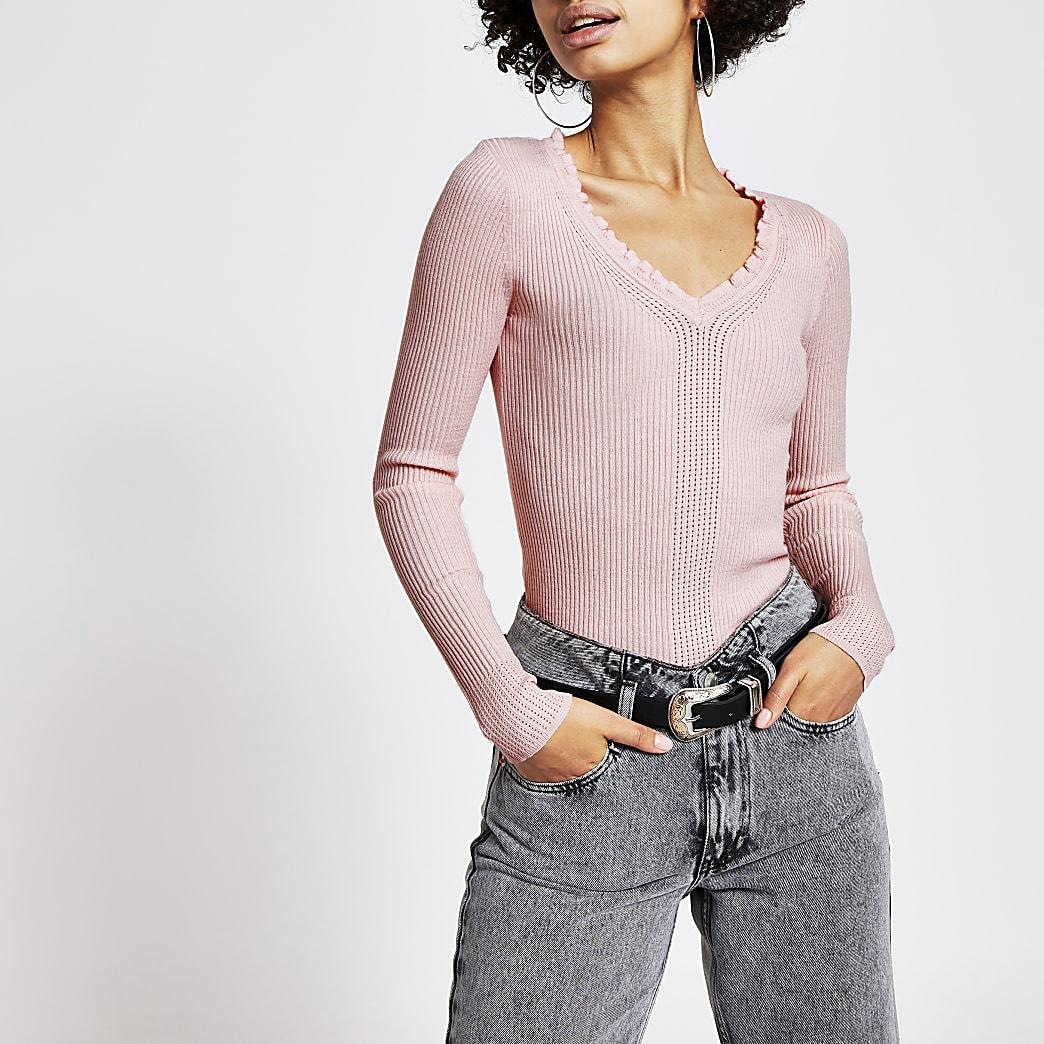 Light pink frill V neck rib knitted jumper