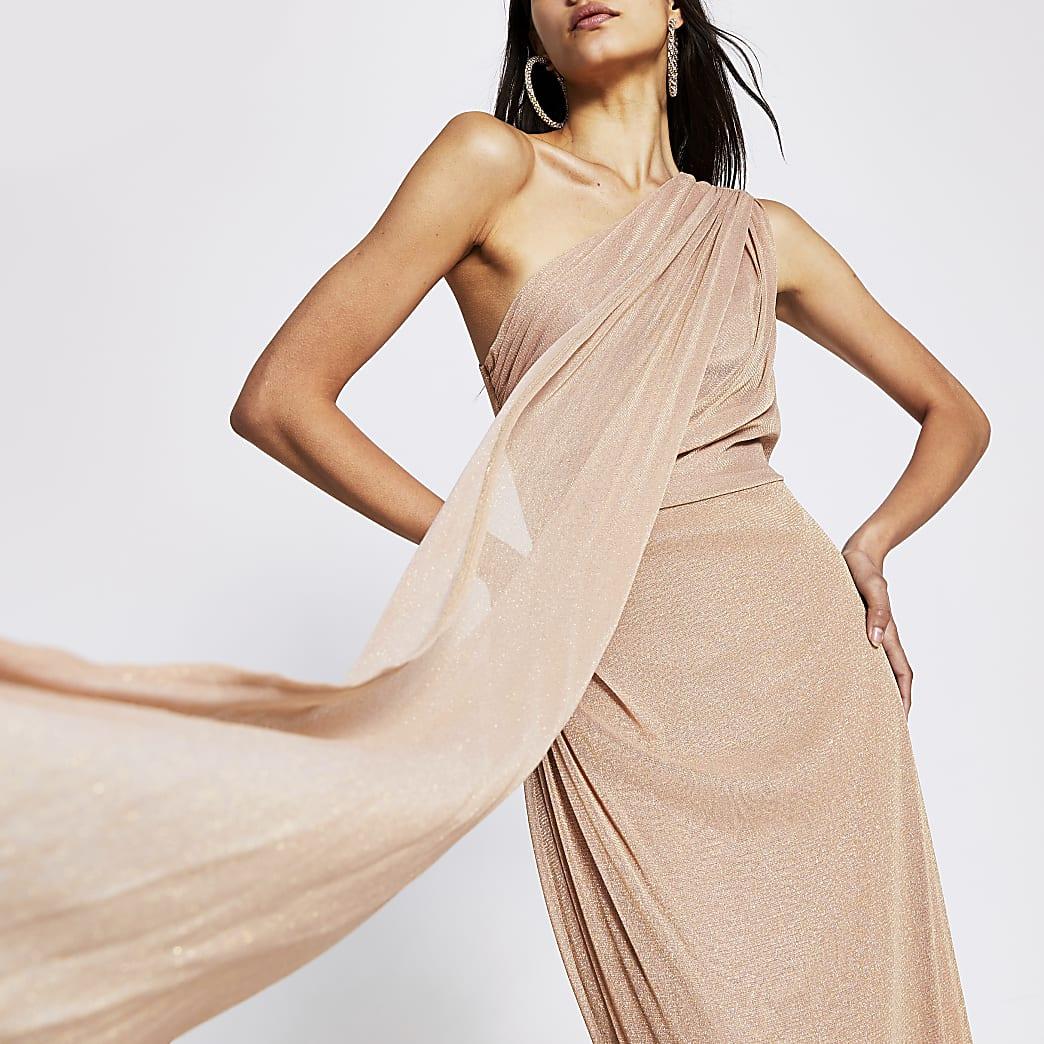 Light pink glitter one shoulder maxi dress