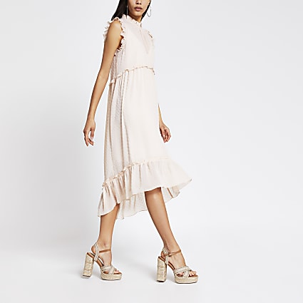 Light pink high neck midi smock dress