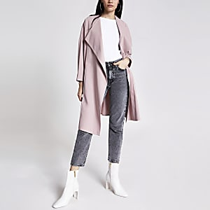 Light pink longline duster jacket