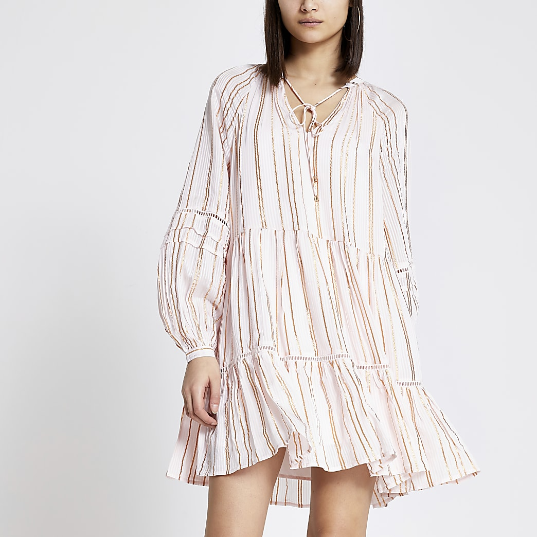 Light pink metallic stripe mini smock dress