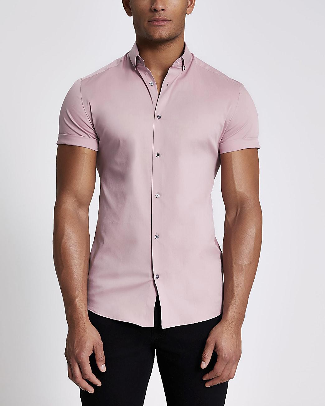 Light pink muscle fit short sleeve shirt