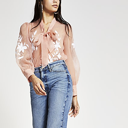 Light pink organza embroidered blouse