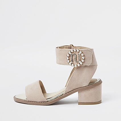 Light pink pearl buckle heeled sandals