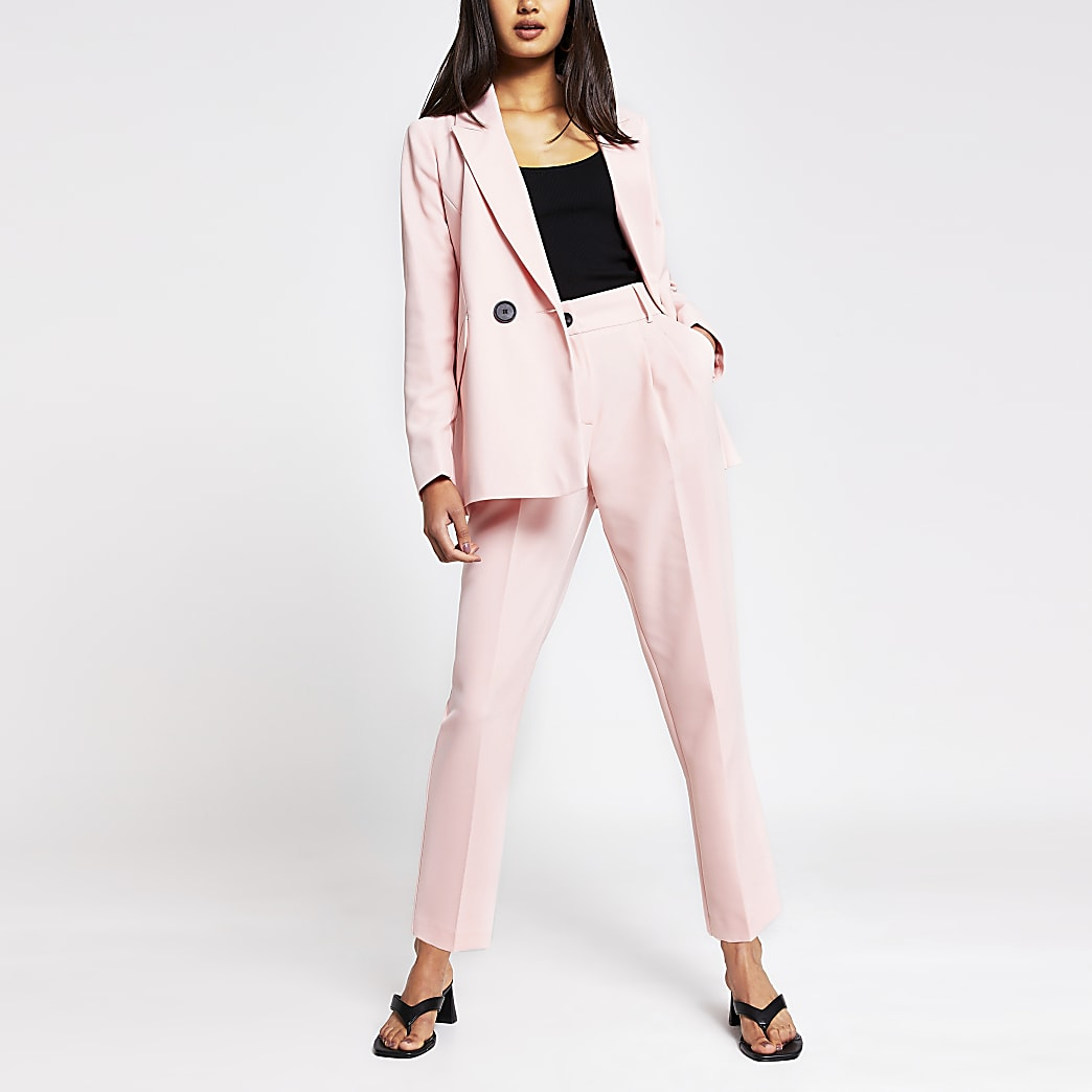 Light pink pleated peg trousers