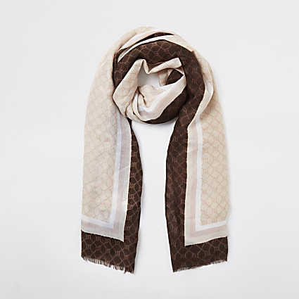 Light pink RI monogram lightweight scarf