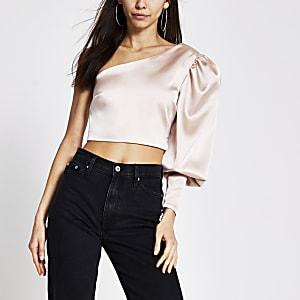 Light pink satin one shoulder crop top